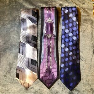 Set of 3 Vintage Murano Italian silk ties. 56""